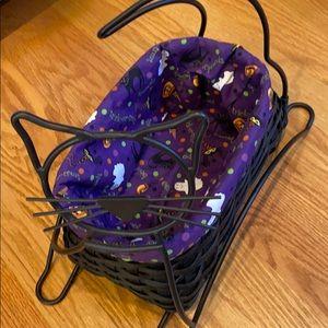 Longaberger basket with cat stand Halloween black